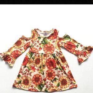 Cold shoulder sunflower dress